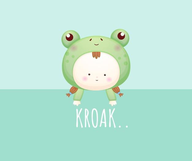 Schattige baby in kikkerkostuum met tekst. mascotte cartoon afbeelding premium vector