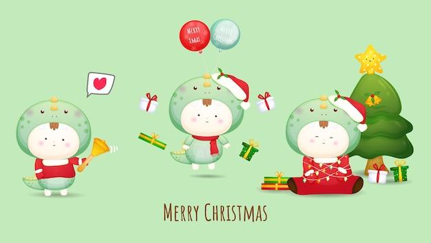 Schattige baby in kostuum voor vrolijke kerstillustratie premium vector