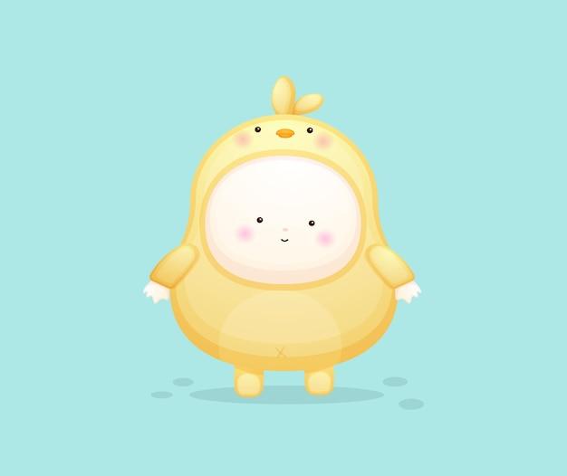 Schattige baby in kuikens kostuum. mascotte cartoon afbeelding premium vector