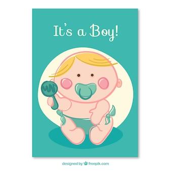 Schattige baby jongen kaart