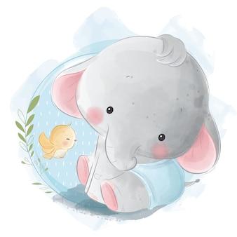 Schattige baby jongen olifant