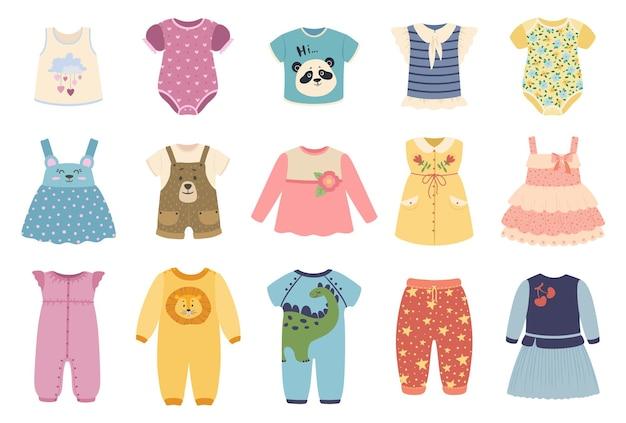 Schattige baby jongens en meisjes kleding met grappige patronen set