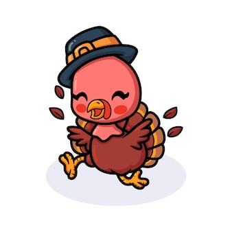Schattige baby kalkoen cartoon in pelgrim hoed rennen