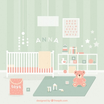 Schattige baby kamer met speelgoed in pastelkleuren