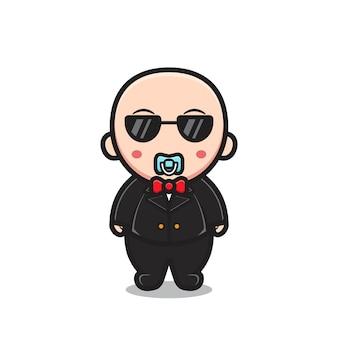 Schattige baby karakter dragen van een bril en pak. ontwerp geïsoleerd op een witte achtergrond.