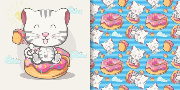 Schattige baby kat cartoon met naadloze patroon