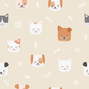Schattige baby kat en hond gezicht cartoon doodle naadloze patroon