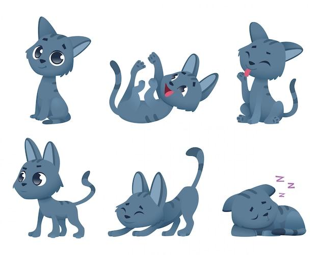 Schattige baby katten. grappige kleine huisdieren speelgoed kitten stripfiguren in verschillende poses