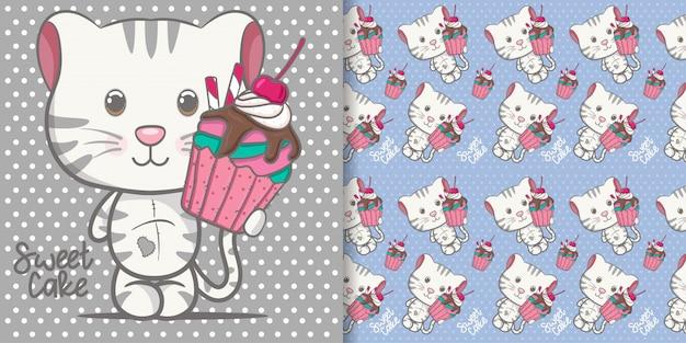 Schattige baby kitten cartoon met naadloze patroon
