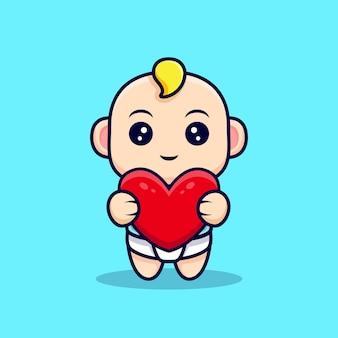 Schattige baby knuffel een groot hart geïsoleerd op blauw