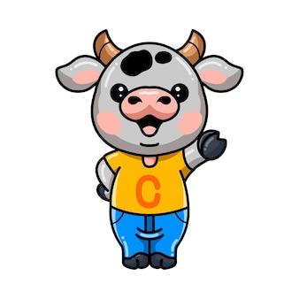 Schattige baby koe cartoon zwaaiende hand