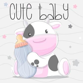 Schattige baby koe hand teken illustratie-vector