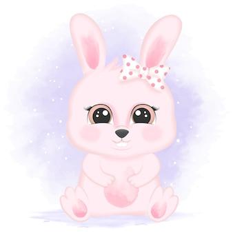 Schattige baby konijn hand getekend cartoon aquarel illustratie