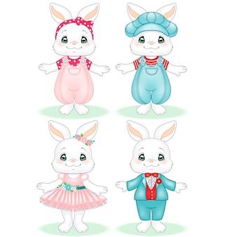 Schattige baby konijntje paar jongen en meisje