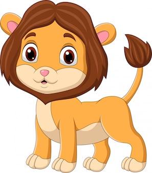 Schattige baby leeuw cartoon geïsoleerd