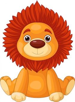 Schattige baby leeuw cartoon zitten