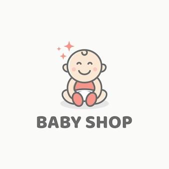 Schattige baby logo ontwerpsjabloon