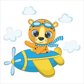 Schattige baby luipaard vliegen op een vliegtuig. cartoon afbeelding.