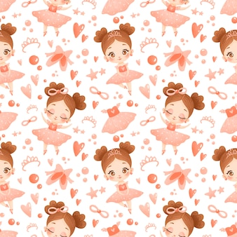 Schattige baby meisje ballerina naadloze patroon. ballet patroon.