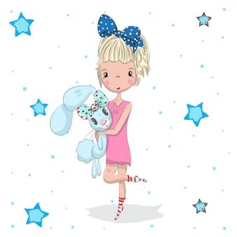 Schattige baby meisje en konijn cartoon hand getrokken