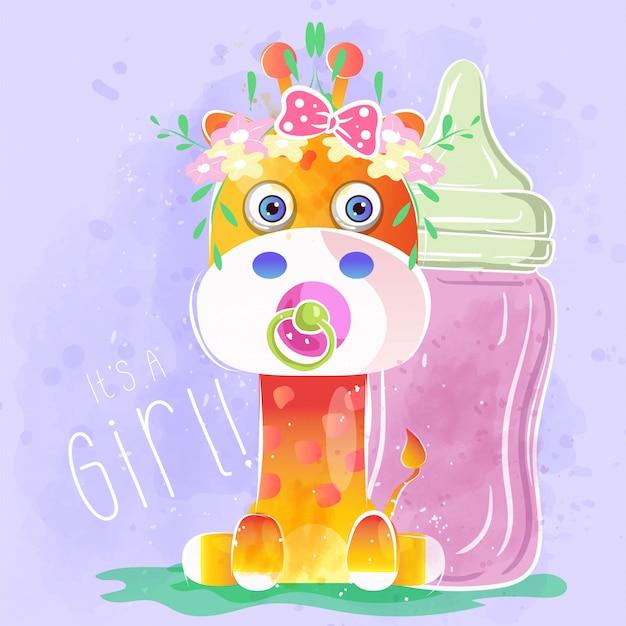 Schattige baby meisje giraffe
