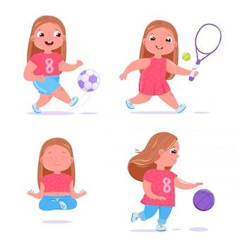 Schattige baby meisje houdt zich bezig met verschillende soorten sport.