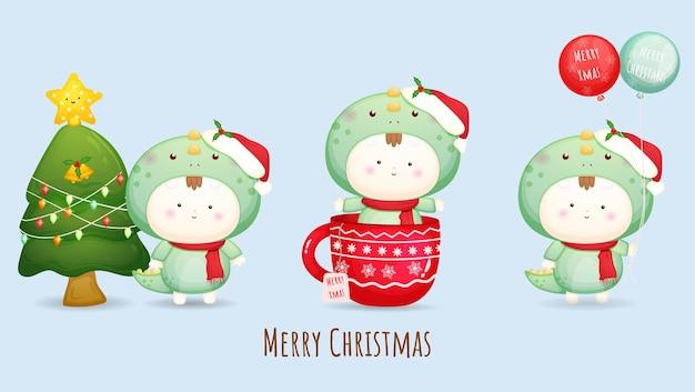 Schattige baby met kerstmuts voor vrolijke kerstillustratie met verschillende poses premium vector