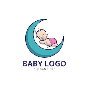 Schattige baby met maan logo-ontwerp