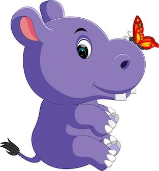 Schattige baby nijlpaard cartoon