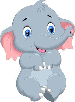 Schattige baby olifant cartoon vergadering