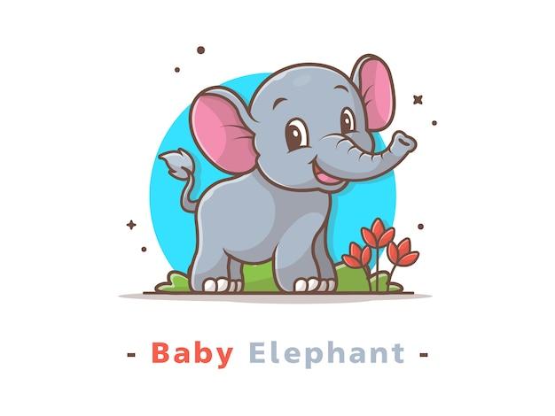 Schattige baby olifant logo mascotte