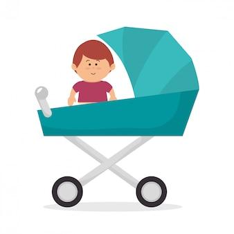 Schattige baby op kinderwagen