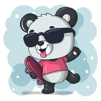 Schattige baby panda cartoon met skateboard illustratie