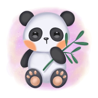 Schattige baby panda illustratie voor kinderkamer decoratie
