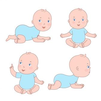 Schattige baby peuter in verschillende posities. pasgeboren van 0 tot een jaar zittend, bewegend op zijn buik.