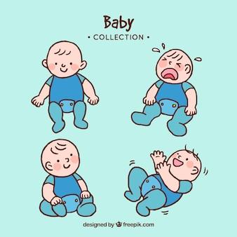 Schattige baby's collectie in de hand getrokken stijl