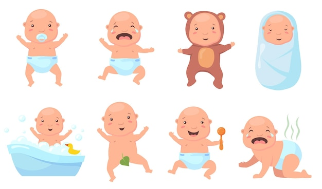Schattige baby's in verschillende poses platte illustraties set