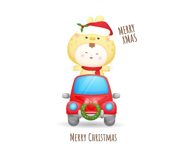 Schattige baby-santa in rode auto voor vrolijke kerstmisillustratie premium vector