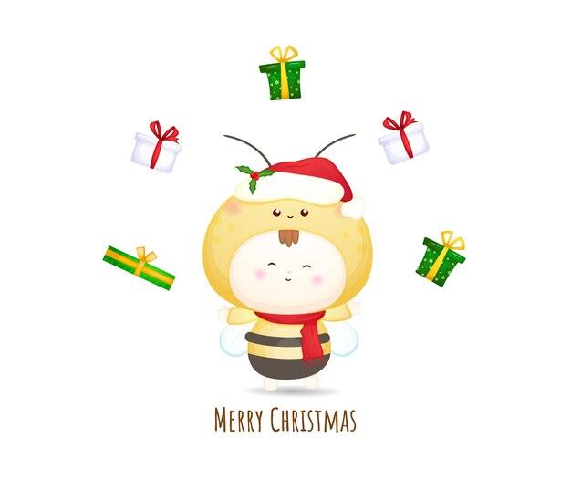 Schattige baby santa kostuum met cadeau voor vrolijke kerst illustratie set premium vector