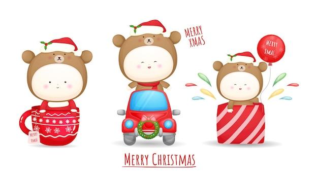 Schattige baby santa kostuum set voor vrolijke kerst illustratie premium vector