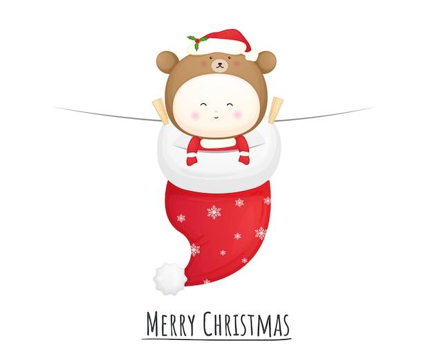 Schattige baby-santa voor vrolijke kerstillustratie premium vector