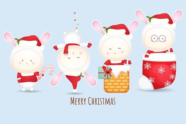 Schattige baby-santa voor vrolijke kerstillustratieset premium vector