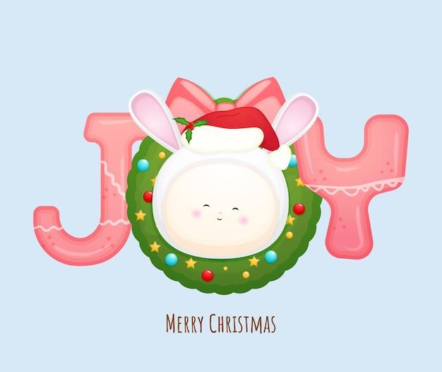Schattige baby-santa voor vrolijke kerstkaartillustratie premium vector