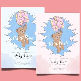 Schattige baby shower aquarel uitnodiging bewerkbare sjabloon