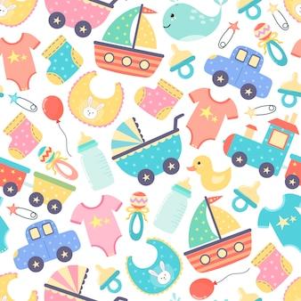 Schattige baby shower naadloze patroon. kleurrijke pasgeboren achtergrond.