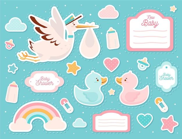 Schattige baby shower plakboekelementen