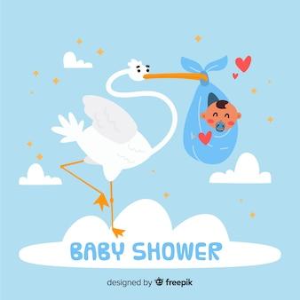 Schattige baby shower sjabloon met ooievaar