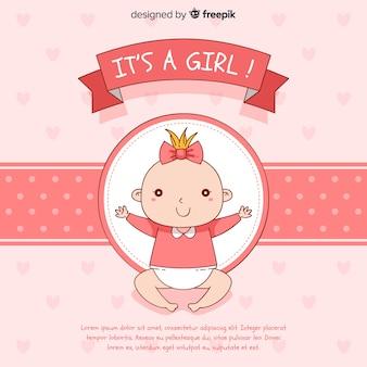 Schattige baby shower sjabloon voor meisje