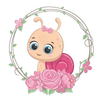 Schattige baby slak met krans.