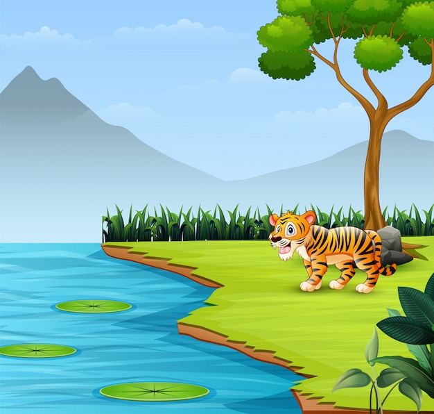 Schattige baby tijger brult door de rivier